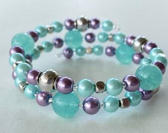 Memory Wire Bracelet, Light Turquoise Blue, Light Purple, Glass Pearl Beads, Quartzite Beads, Double Wrapped, Wrap Bracelet