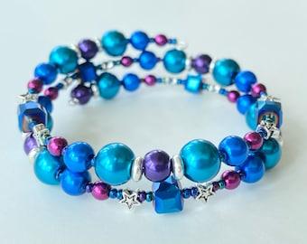 Memory Wire Bracelet, Dark Teal, Bright Blue, Deep Magenta, Deep Purple, Star, Cube Glass Beads, Double Wrapped, Wrap Bracelet