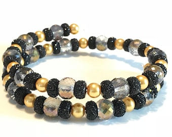 Memory Wire Necklace, Faceted Crystal, Gold Glass Pearl Beads, Black, New Year's, Event, Party