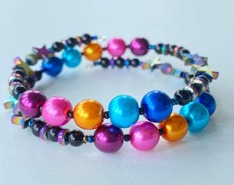 Memory Wire Bracelet, Deep Magenta, Bright Pink, Orange Gold, Turquoise Blue, Bright Blue, Hematite Rainbow Stars, Wrap Bracelet