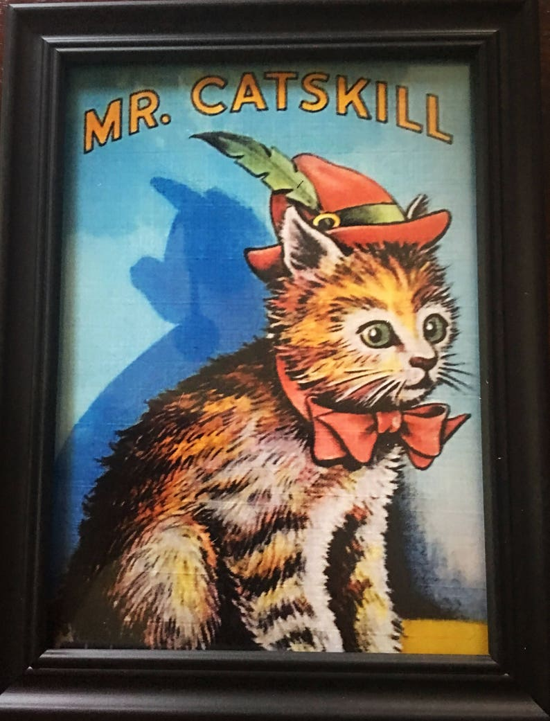 Catskill Memorabilia Mr and Mrs Catskill Cats Catskill Mountains Set of Two Framed Prints Cat Prints Framed Prints