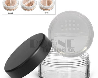 Empty 20g, 20ml Clear Cosmetic Refillable Makeup Jar Black Matte Top w/ Twist Rotating Closable Sifter for EyeShadow, Blush Mineral Makeup