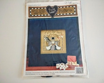 Cross stitch Kit. Yarn and print ,  still in package  Two by Two