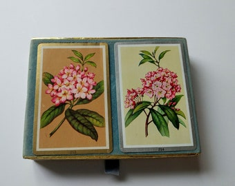 Vintage Playing Cards,  VINTAGE VELVET,Box ,CONGRESS-double-deck-playing-cards-floral-print-spain