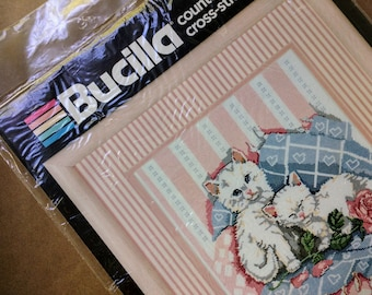 Cross Stitch Kit. Yarn and print , Vintage still in package