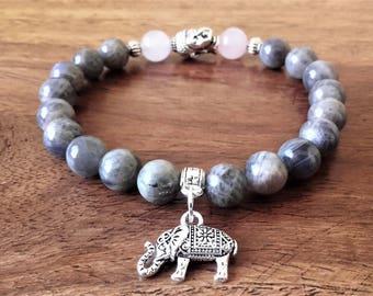 """""""Kindness"""", labradorite and quartz bracelet Pink 8mm, medal elephant, about 18 cm, Crystal healing"""