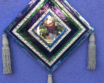 """Stained Glass Mosaic """"Ojo De Dios"""" Mirror"""