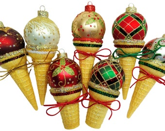 CLASSY GOLD GLITTER. Handmade Ice Cream Ornaments. Ice Cream Ornament. Custom Ornament. Personalized Ornament. Gold Glitter. Glitzy.