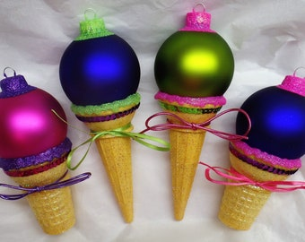 WILD TWO-TONED Combo Personalized Ice Cream Cone Christmas Ornaments! Personalized. Name Ornament. Dated Ornament. Lime Green. Hot Pink.