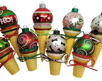 WHIMSY WOWSY! Too CUTE! Handmade Ice Cream Cone Ornaments. Christmas Ornament. Ornament Exchange. Christmas Gift. Ice Cream. Ice Cream Cone.
