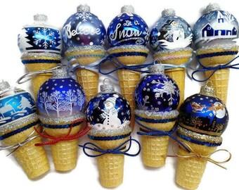 BLUE, BLUE CHRISTMAS  Ice Cream Ornaments. Handmade Ornaments. Christmas ornament. Ice Cream Cone. Snow Ornament Blue Christmas Ornament