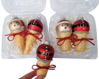SANTA FACE & BELLY on Tiny Ice Cream Cones Tiny Ornaments Christmas Ice Cream Ornaments Christmas Ornaments Santa Belly Santa Face Santa Hat