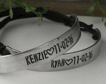 Couples Bracelets Set His Hers - Couples Bracelets - Custom Names set of TWO bracelets