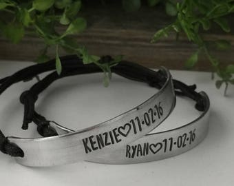 Couples Bracelets - With Names - Custom Date Bracelet - Personalized Couples Jewelry for Him and Her - Engraved Couples Jewelry