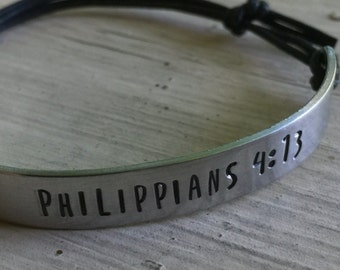 Philippians 4:13 Bracelet - Silver - Philippians - Adjustable