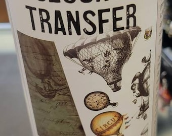 Belles and whistled Tranfer Hot Air Balloons and clocks - Decor Transfer- ephemera