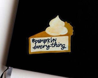 Pumpkin Pie Sticker | Transparent Waterproof Laptop Stickers | Water Bottle Vinyl Stickers | Fall Stickers