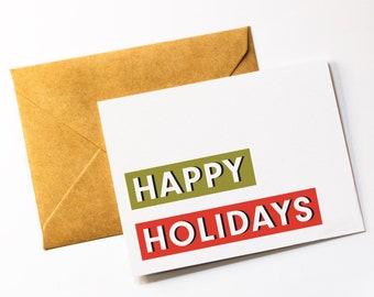 Modern Holiday Card - Happy Holidays Card - Festive Christmas Card - Personalized Christmas Card