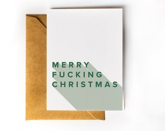 Funny Christmas Card | Snarky Holiday Card | Merry Fucking Christmas | Personalized Message Add-on