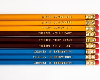 Motivational Pencils Set, Inspirational Foil Engraved Pencils, Stocking Stuffer, Female Empowerment Gifts for Her