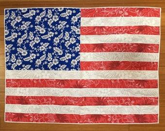 Aloha Print American Flag - Made Out of Red White and Blue Aloha Print