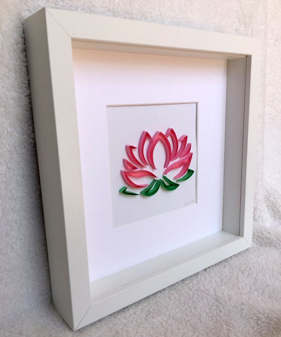 Pink Lotus Flower Framed Wall Art Paper Quilling Etsy