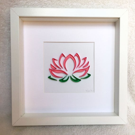 Pink Lotus Flower Framed Wall Art Paper Quilling By Miscdesignpr