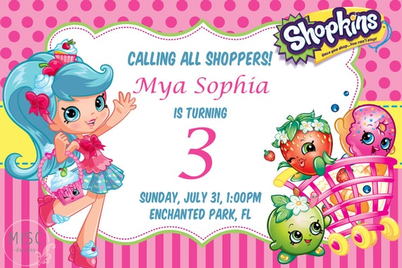 picture regarding Printable Shopkins Posters called Shopkins Birthday Invitation - Printable by means of MiscDesignPR