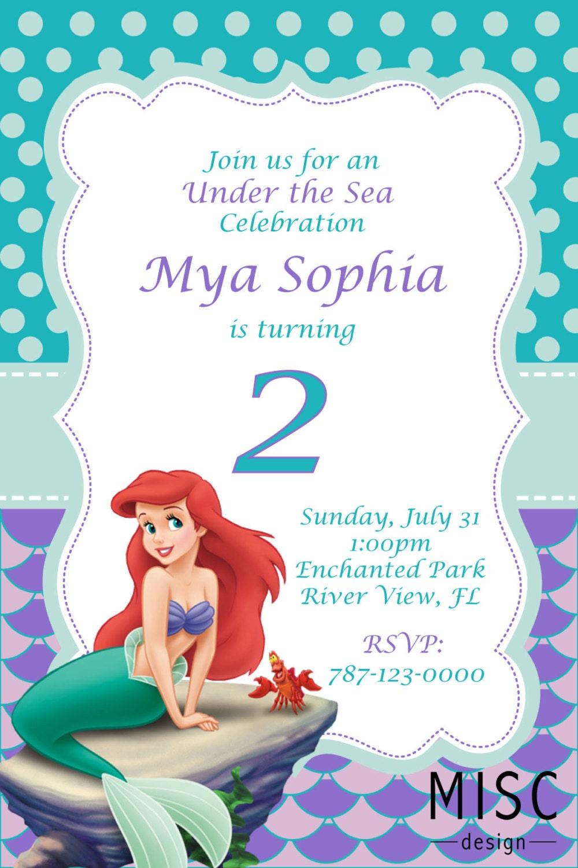 Under the Sea Birthday Invitation Little Mermaid Invitation   Etsy