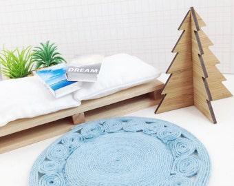 Blue circle jute rug dollhouse miniature