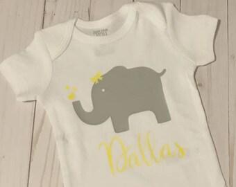 Personalized Baby Elephant Bodysuit