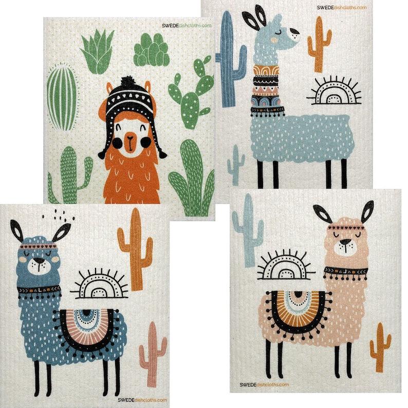 Mixed Llama Set of 4 Cloths Swedish Dishcloths one of Each image 0