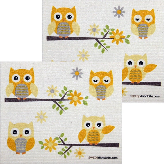 Mixed Owls Set of 3 Cloths One of Each Design Swedish DishclothsECO Friendly
