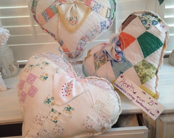 Heart Pillows with Hankie bows