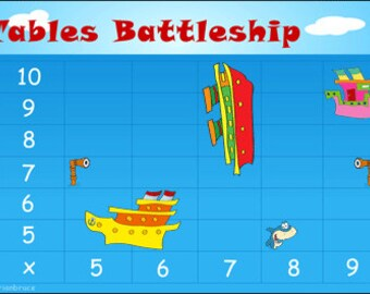 Math Game - Multiplication Game - 5 Times Table to 10 Times Table - Multiplication Battleship