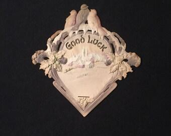 "Antique German Calendar Holder - New Years ""Good Luck"" Message - Heavy Pressed Paper Mache Wall Pocket - Wall Calendar Holder"