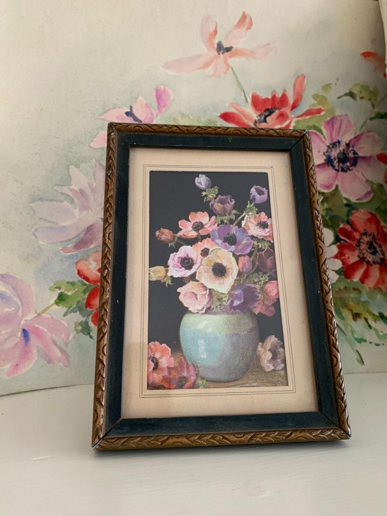 Vintage framed anemone picture