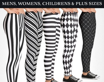 027f854c98a6f Black and White Stripe Leggings for Halloween - Mens, Womens, Child and Plus  Sizes! BeetleJuice, Jester Harlequin and more!