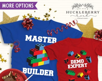 Demo Expert -OR- Master Builder Building Blocks Birthday Shirt / Child or Toddler Tee Shirt Sizes Available
