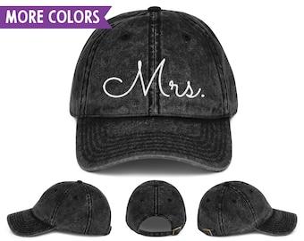 d779ed4abe1bc Mrs. Script - Mr.   Mrs. Vintage Dad Hat Set - Adjustable - Vacation  Honeymoon Newlywed Just Married Spouse Hat Set