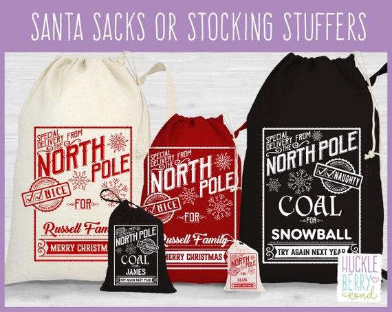 PERSONALIZED Santa Coal bag