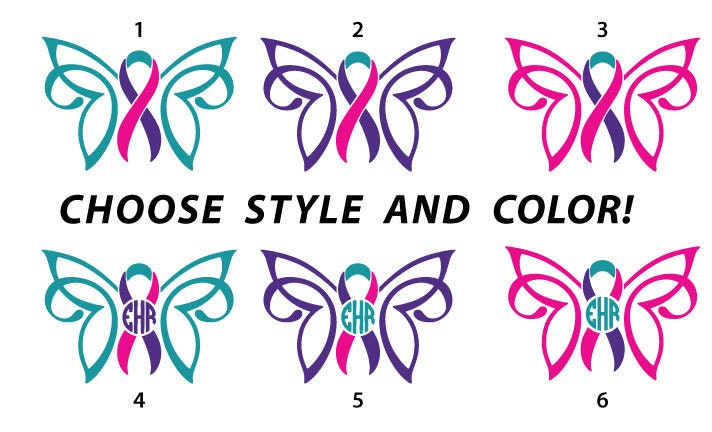 Custom Thyroid Cancer Survivor Awareness Ribbon Butterfly With Etsy