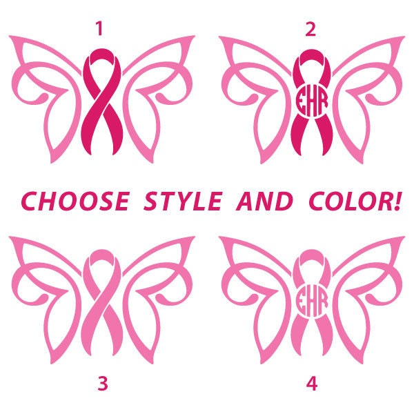 Custom Cancer Awareness Ribbon Butterfly With Monogram In Multiple