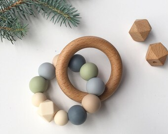 GRACE Neutral Baby Teething Toy // Wooden Teether // Silicone Teether // Silicone beads // Rattle // Teething Ring // Teething Jewelry