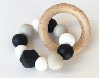 GRACE Monochrome Baby Teething Toy // Wooden Teether // Silicone Teether // Silicone beads // Rattle // Teething Ring // Teething Jewelry