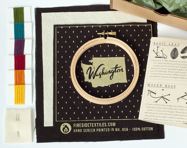 Sewing and Craft Project US State Embroidery Kit Hand Embroidery 4 Hoop DIY Project United States Embroidery Art