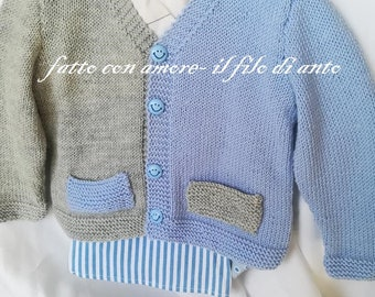 Cardigan/Knit/Baby in pure merino wool 100% grey and blue