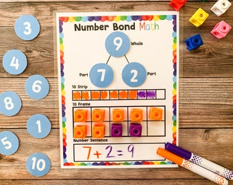 Number Bond Math, Number Sense, Homeschool, Math, Part Part Whole, Math Worksheet for Kids, Decomposing numbers