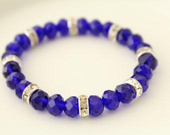 Blue Crystals Bracelet - Bracelet for small girls - Girls Bracelet - Kids Bracelet - Kids Jewelry - Wedding Braclelet