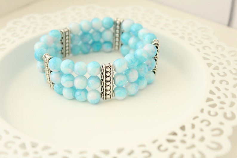 Gift for Her Christmas Gift Blue Glass Bracelet Gift for Wife Blue Cuff Bracelet Gift for Boho Holiday Gift Christmas Present